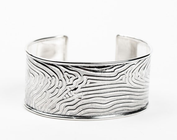 Sterling Silver Tree Bark Cuff Bracelet // Big huge large wide tree bark embossed cuff bracelet // nature organic boho bohemian
