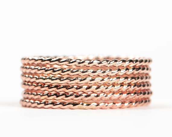 Rose Gold Silver Rope Stacking Rings // 14K Rose Gold Fill twist round circle stacking stackable ring stack ring skinny thin ring bands