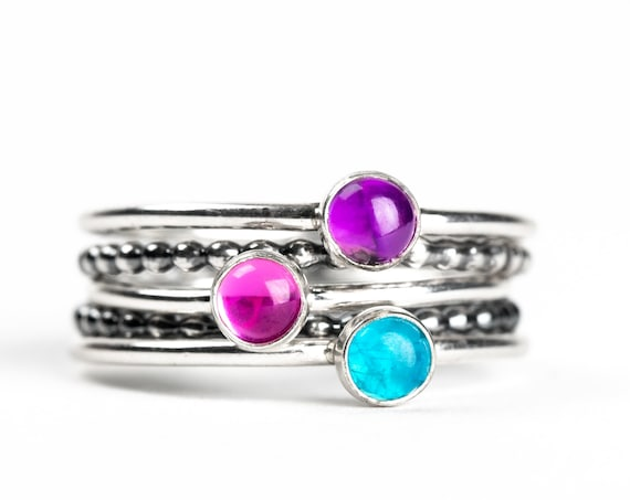 Colorful Stacking Gemstone Rings Set of 5 // Purple Amethyst pink Ruby blue Apatite sterling silver stack stacking rings stackable rings