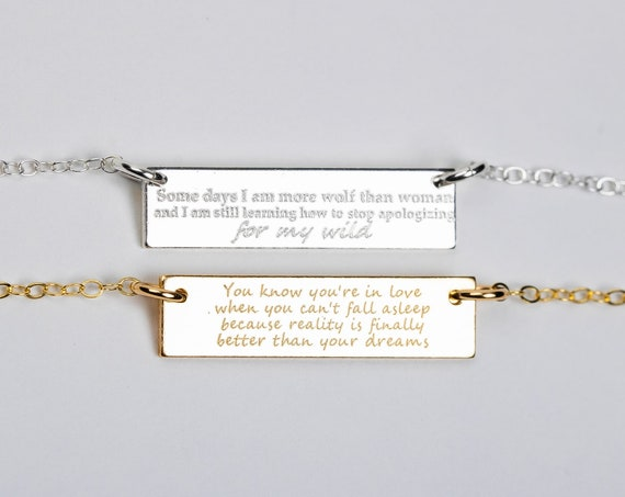 Custom Quote Necklace // Personalized Custom Horizontal Bar Necklace // Gold, silver, rose delicate quote bar sentence necklace skinny bar