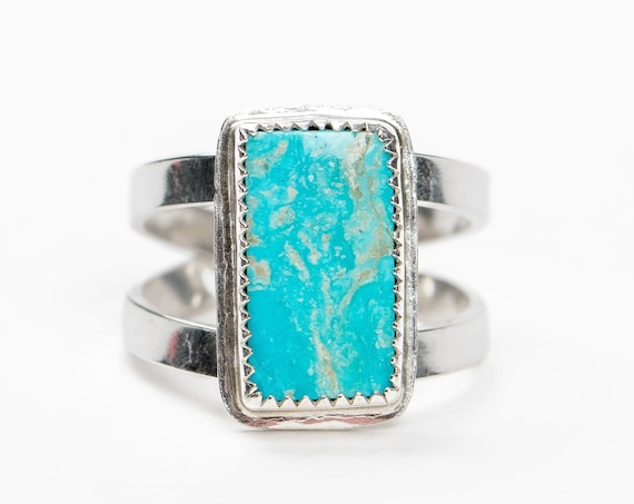 SIZE 9 Aqua Blue Campitos Turquoise Gemstone Ring in Sterling Silver // Big bold rectangle boho bohemian southwestern statement ring