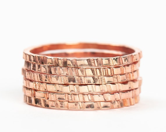 Rose Gold Rugged Stacking Rings // 14K Rose Gold Fill lined striped rugged hammered stacking rings stackable stack skinny thin ring bands