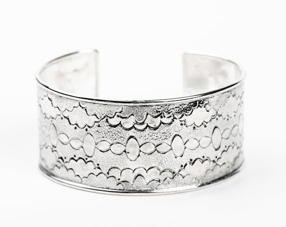Sterling Silver Cuff Bracelet - Cloud Design - Wide Hand Stamped Bangle Cuff Bracelet - Huge Bohemian Navajo Style Statement Cuff Bracelet