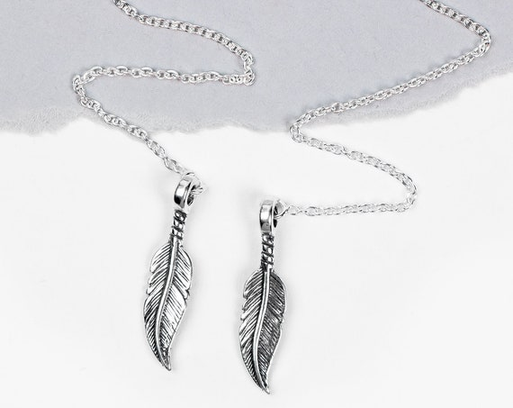 Feather Threader Earrings // Long Sterling Silver ear thread chain front back feather wing boho bohemian Indian dangle drop minimal earrings