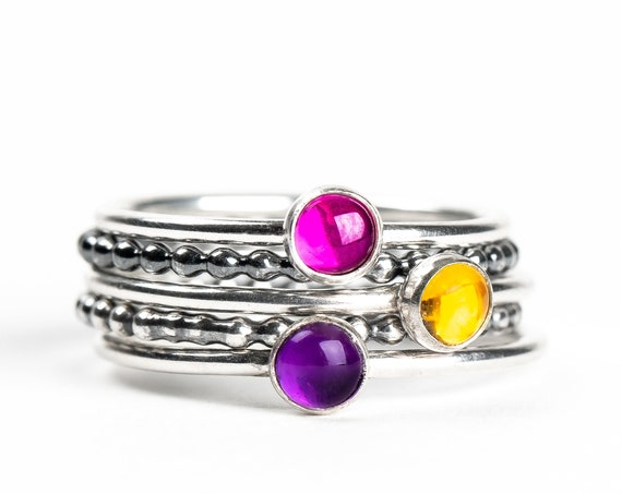 Colorful Stacking Gemstone Rings Set of 5 // Pink Ruby yellow Citrine purple Amethyst sterling silver stack stacking rings stackable rings