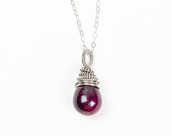 Purple Wire Wrapped Czech Glass Teardrop Necklace in Sterling Silver // Small little dark grape plum purple pendant charm necklace