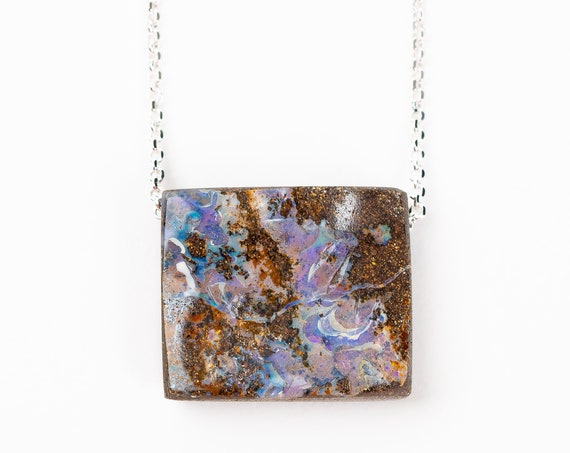 Purple Boulder Opal Necklace in Sterling Silver on Long Chain // Natural multicolored extra long gemstone boho bohemian pendant necklace