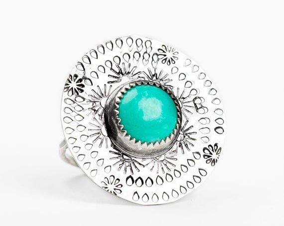 SIZE 8 Aqua Blue Tibetan Turquoise Gemstone Ring in Sterling Silver with Hand Stamped Floral Border // Big boho bohemian teal blue ring