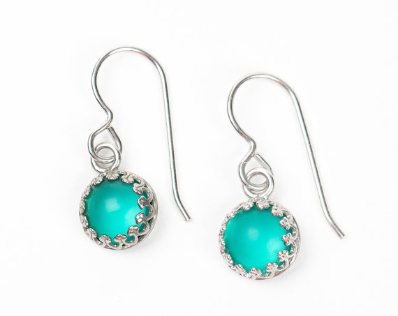 Teal Blue Czech Glass Earrings // Small tiny sterling silver aqua glass stone dangle drop earrings with princess crown settings