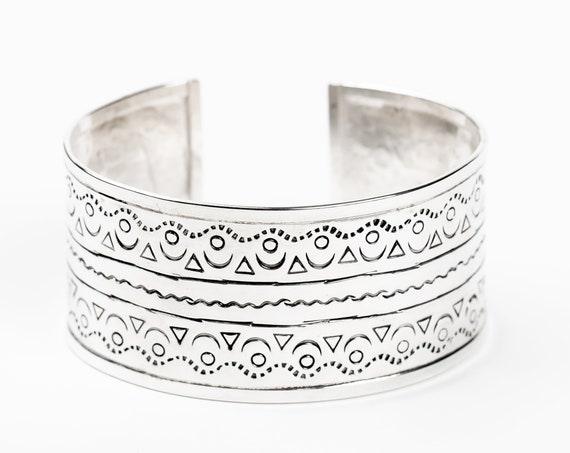 Sterling Silver Cuff Bracelet - Wide Hand Stamped Bangle Cuff Bracelet - Huge Bohemian Navajo Indian Aztec Style Statement Cuff Bracelet