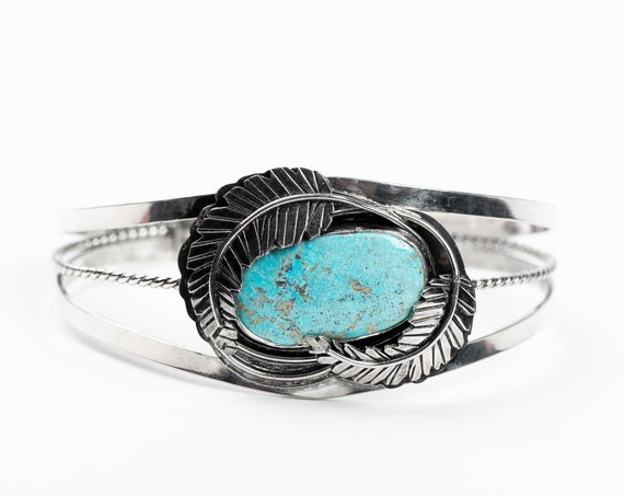 Blue Ridge Lightning Turquoise Cuff Bracelet with Feathers in Sterling Silver - Aqua Blue Bohemian Cuff - Boho Navajo Indian Bracelet