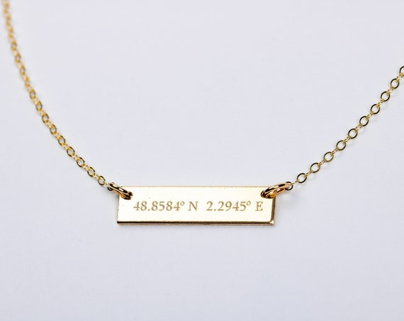 Coordinates Necklace // Personalized Custom Horizontal Bar Necklace // Gold, silver, rose place location bar plate small skinny bar necklace