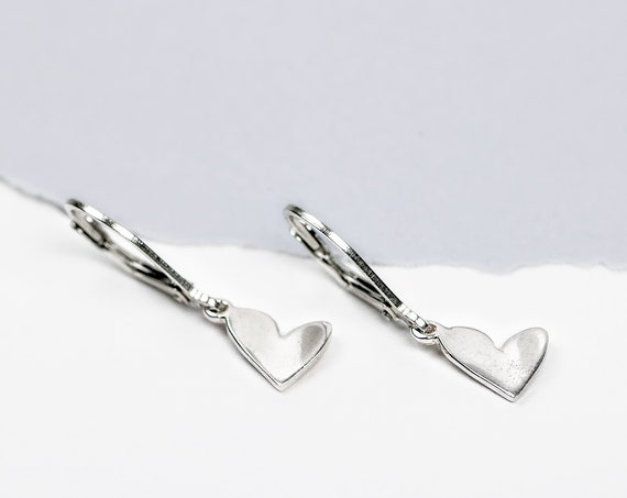 Tiny Sterling Silver Sideways Heart Earrings // Simple silver lever lack dangle drop heart love earrings gift for her Christmas Valentines