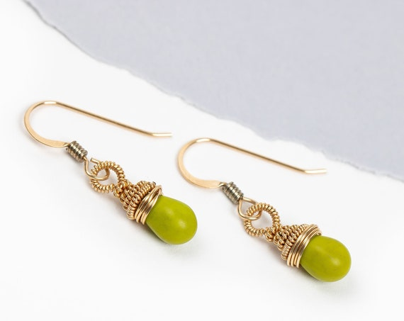 Wire Wrapped Lime Green Czech Glass Earrings in 14K Gold Fill // Wire wrapped coil olive green dangle drop earrings in 14k yellow gold fill