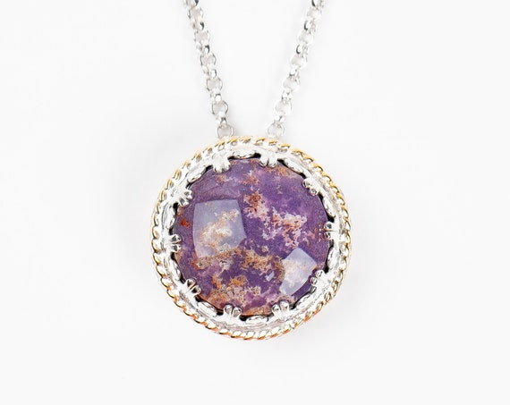Purple Burro Creek Jasper Gemstone Necklace in Sterling Silver with Gold Twist Border // Big round circle hollow locket pendant necklace