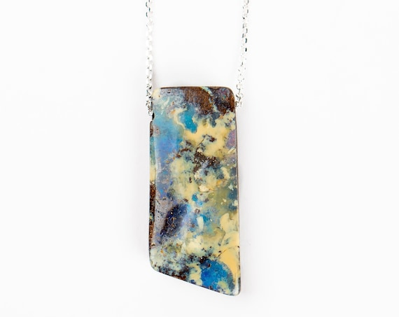 Huge Blue and Yellow Boulder Opal Necklace in Sterling Silver on Long Chain // Natural multicolored long gemstone boho pendant necklace
