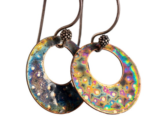 Antiqued Rainbow Copper Circle Disc Dangle Earrings // Sterling silver and gold copper iridescent oxidized patina round drop earrings