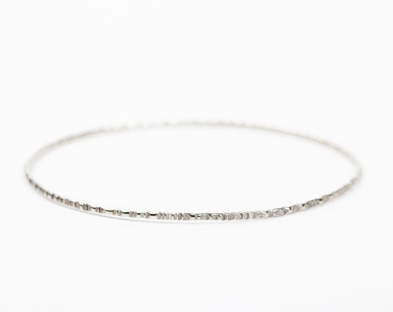 Rugged Hammered Sterling Silver Skinny Bangle Bracelet // Thin skinny textured stack stacking stackable minimal minimalist bangle bracelet