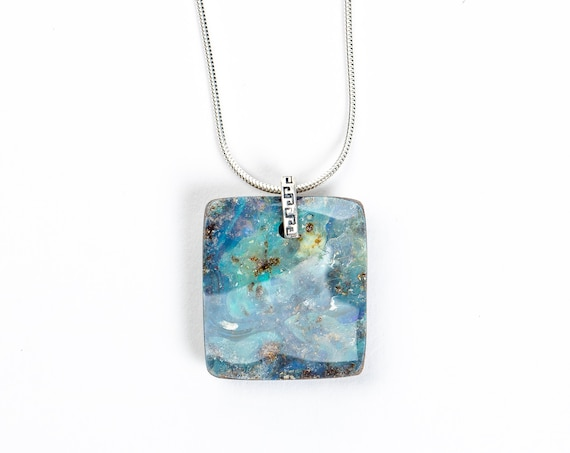 Long Aqua Blue Boulder Opal Necklace in Sterling Silver with Pinned Hinge // Natural aqua blue boho bohemian gemstone pendant necklace