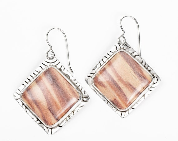 Light Pink Australian Print Stone Earrings in Sterling Silver // Big square diamond striped pastel pink brown natural gemstone earrings
