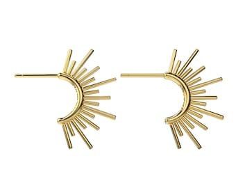Sun Burst Hoop Post Earrings in 14K Gold, 14K Rose Gold, or Sterling Silver   Designer Series   Edgy Spike Planetary Celestial Posts