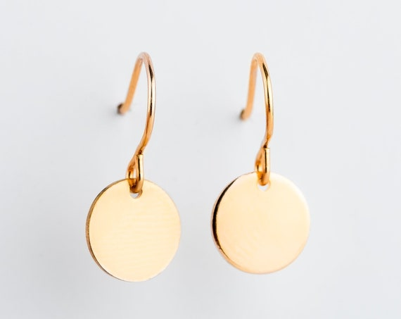 14K Yellow Gold Fill Circle Disc Dangle Earrings // Medium 9mm smooth flat round circle dot coin medallion dangle drop minimal earrings