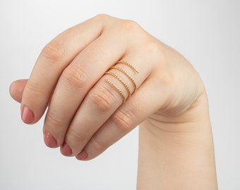 Spring ring RR-030-GD  1 Pcs 16K Gold Plated over Brass  6.5 US Spiral Coil Ring Spiral Coil Band for Half Drilled Pearl