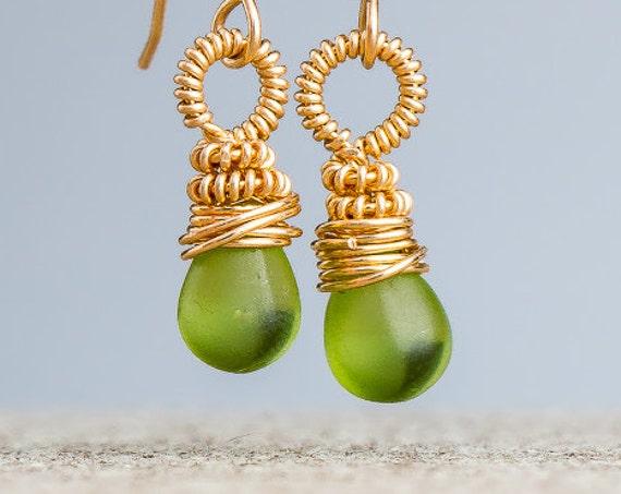 Wire Wrapped Green Earrings - Lime Green Czech Glass earrings in 14K Gold Fill - Light green dangle drop earrings - Small green earrings