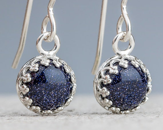 Constellation dangle drop earrings in Sterling Silver with Blue Goldstone gemstones - Star crown earrings - Gift for her