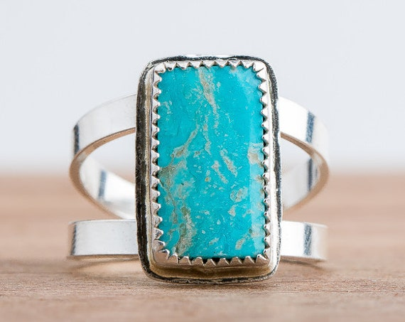 SIZE 9 - Campitos Turquoise Gemstone Ring in Sterling Silver - Aqua Blue Ring - Bohemian Style Navajo Indian Southwestern Jewelry