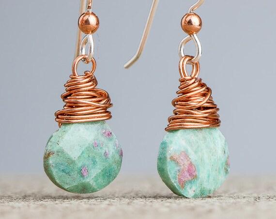 Wire Wrapped Earrings - Ruby in Fuchsite gemstone dangle drop earrings in Sterling Silver and Copper - Boho Bohemian jewelry - Green pink