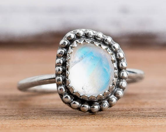 Midi Ring - Rainbow Moonstone Midi Ring in Sterling Silver - Size 3