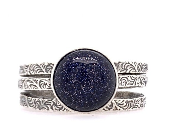 Constellation Stacking Rings // Sterling silver & Blue Goldstone night sky stackable stack ring galaxy star zodiac space outer space paisley