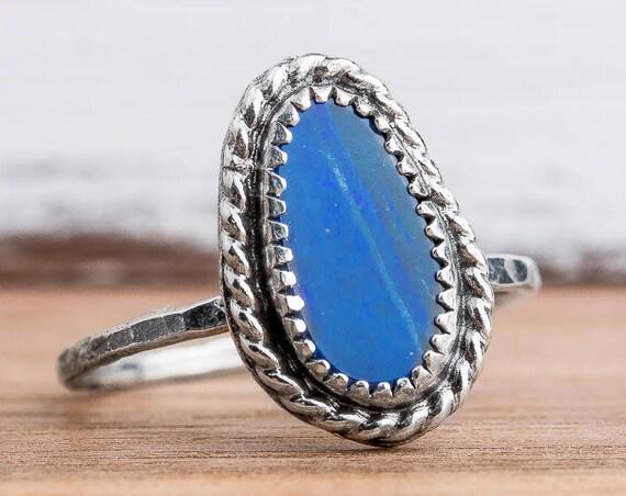 Boulder Opal Gemstone Ring in Sterling Silver - Size 8.5