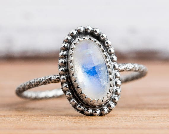 Blue Rainbow Moonstone Gemstone Ring in Sterling Silver - Size 7.75