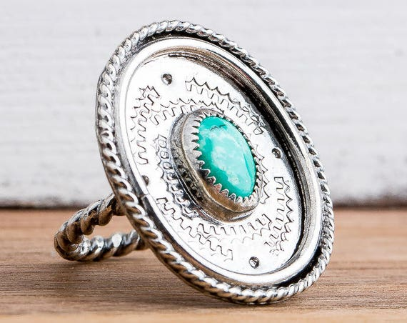 Aqua Blue Tibetan Turquoise Gemstone Ring in Sterling Silver