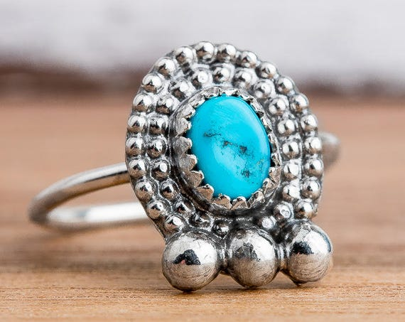 Sleeping Beauty Turquoise Ring in Sterling Silver - Size 5