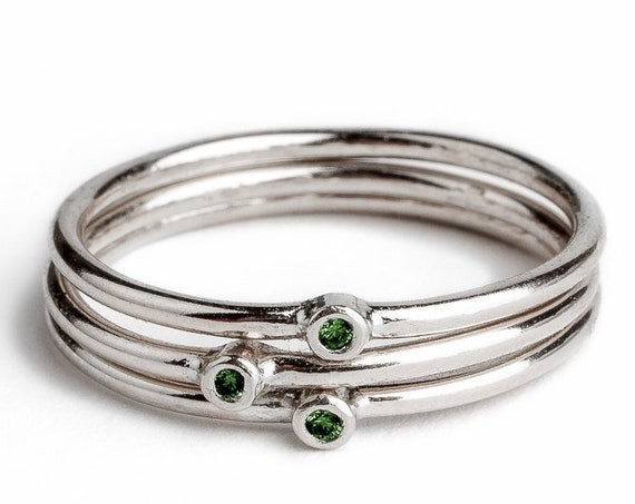 Green Diamond Stacking Rings // Sterling silver dark deep green real diamond stacking stackable stack ring bands minimal engagement wedding
