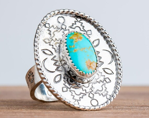 Aqua Blue Manassa Turquoise Gemstone Ring in Sterling Silver with Stamped Border - Size 8.75
