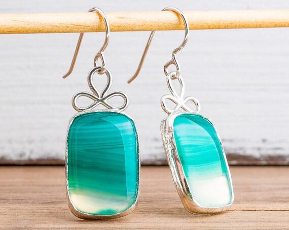 Striped Green Onyx Agate Gemstone Earrings in Sterling Silver - Green Rectangle Earrings - Big Green Dangle Drop Earrings - Holiday Earrings