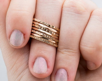 Rugged and Mirror Stacking Rings Set of 7 // Gold, rose or silver mixed hammered stacking stackable rings stack rings skinny thin ring band