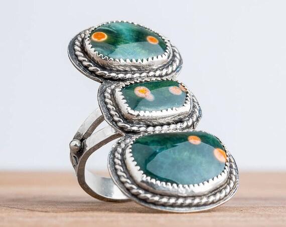 Green Ocean Jasper Gemstone Ring in Sterling Silver - Size 7.75