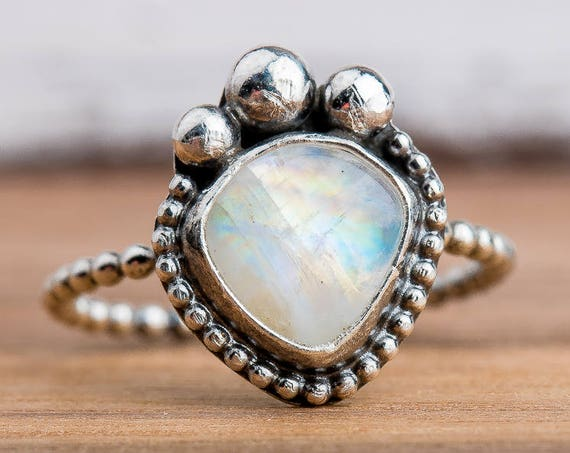 Rainbow Moonstone Gemstone Ring in Sterling Silver - Size 8.25