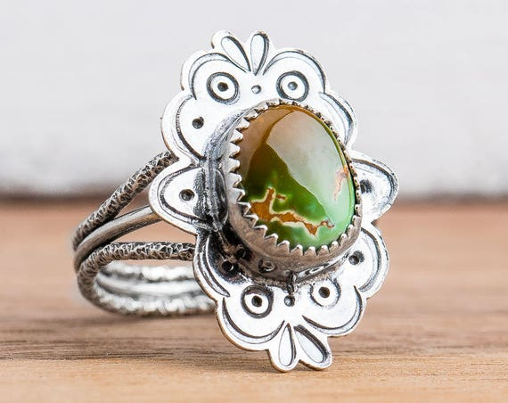 Green and Brown Royston Turquoise Statement Gemstone Ring in Sterling Silver