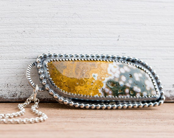 Yellow and Green Ocean Jasper Gemstone Necklace in Sterling Silver with Beaded Border