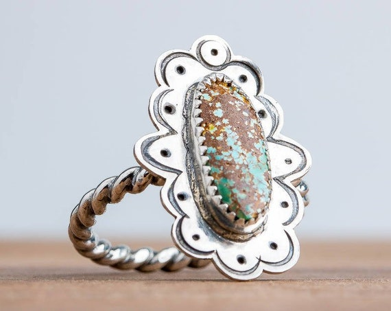 SIZE 8 Green and Brown Royston Turquoise Ring in Sterling Silver // Big bohemian boho Indian navajo solitaire cocktail turquoise ring