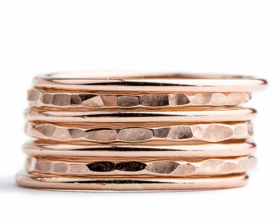 Rose Gold Mixed Stacking Rings Set - Set of 7 Stack Rings in 14K Rose Gold Fill - Skinny ring bands - Hammered Texture Stacking Rings