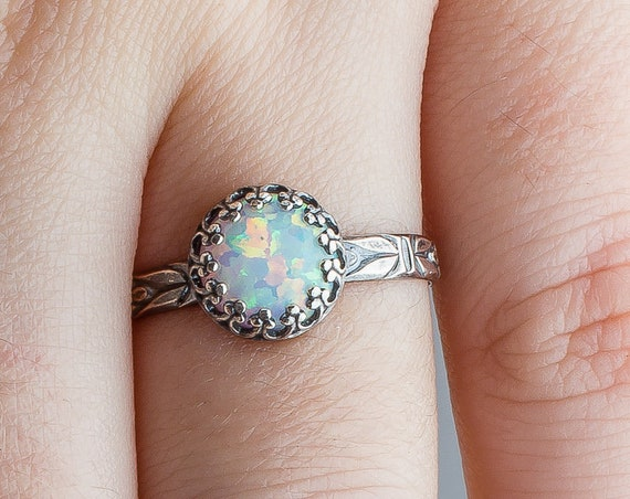 White Opal Solitaire Gemstone Ring // Sterling silver colorful iridescent fiery white opal gemstone flower floral solataire ring band