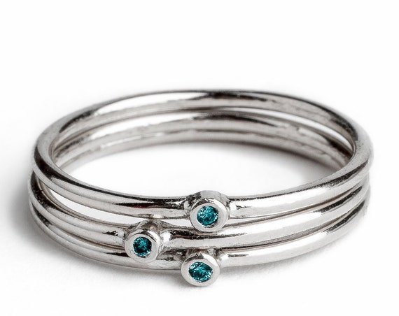 Blue Diamond Stacking Rings // Sterling silver aqua teal blue real diamond stacking stackable stack ring bands minimal engagement wedding