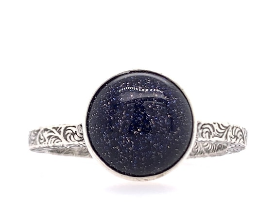 Constellation Solitaire Ring // Sterling silver & Blue Goldstone night sky ring galaxy star zodiac space outer space paisley ring band